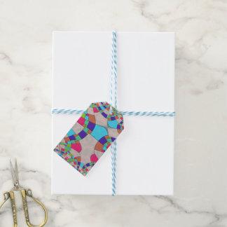 Mosaïque colorée de tuile d'art déco étiquettes-cadeau