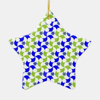 Mosaïque de moulins à vent et d'étoiles ornement étoile en céramique