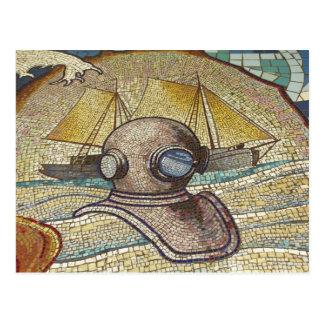 Mosaïque de vieux casque de plongeurs carte postale