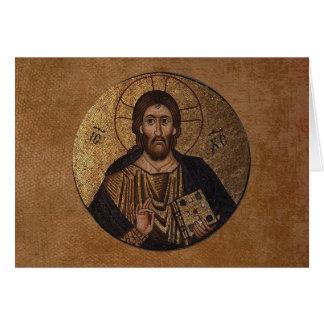Mosaïque du Christ Pantocrator religieuse Carte De Vœux