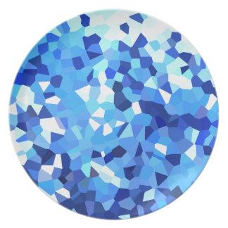 Mosaïque moderne bleue et de blanc en verre assiettes en mélamine