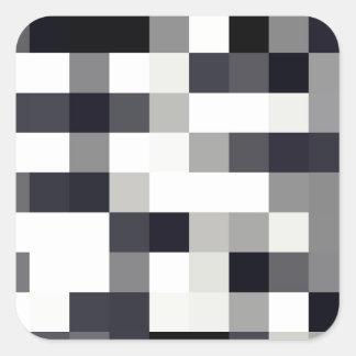 Mosaïque noire et blanche sticker carré