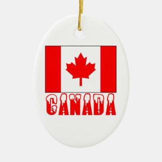 Mot couvert par neige de drapeau du Canada Ornement Ovale En Céramique