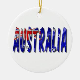 Mot de l'Australie avec l'ornement en céramique de Ornement Rond En Céramique