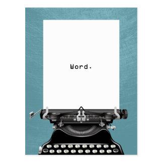 """""""Mot. """"Turquoise vintage de machine à écrire Cartes Postales"""
