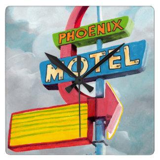 Motel de Phoenix d'aquarelle Horloge Carrée