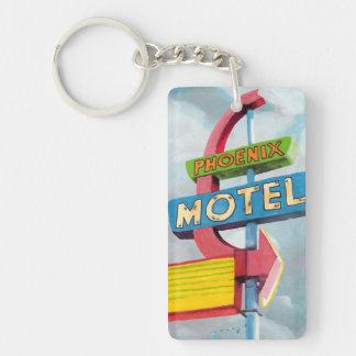 Motel de Phoenix d'aquarelle Porte-clé Rectangulaire En Acrylique Double Face