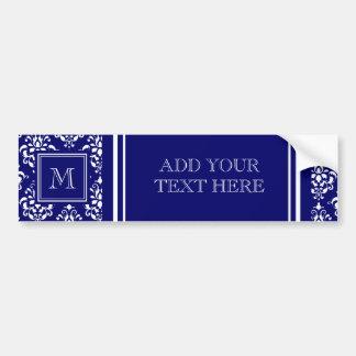 Motif 1 de damassé de bleu marine avec le monogram autocollant de voiture