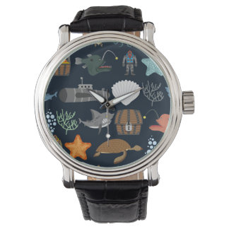 Motif 1 d'habitants d'océan montres bracelet