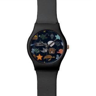 Motif 1 d'habitants d'océan montres cadran