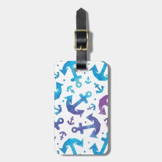 Motif 2 d'ancre de colorant de cravate étiquettes bagages