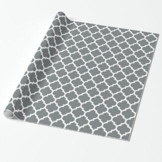 Motif #5 de Quatrefoil de Marocain de blanc gris Papier Cadeau Noël