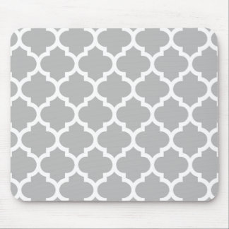 tapis de souris motif gris quatrefoil blanc gris. Black Bedroom Furniture Sets. Home Design Ideas