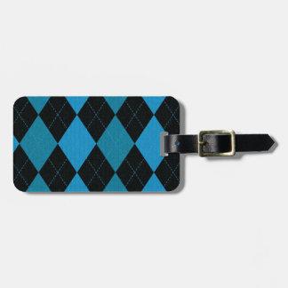 Motif à motifs de losanges bleu et noir profond étiquettes bagages