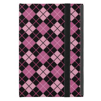 Motif à motifs de losanges dans le noir et le rose étui iPad mini