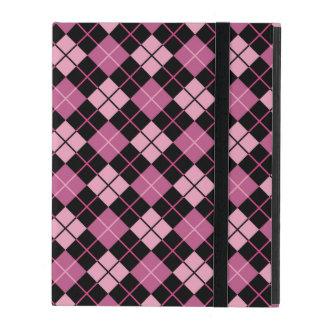 Motif à motifs de losanges dans le noir et le rose protection iPad