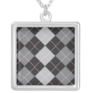 Motif à motifs de losanges gris noir pendentif carré