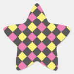 Motif à motifs de losanges jaune rose sur le noir autocollant en étoile