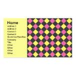 Motif à motifs de losanges jaune rose sur le noir modèles de cartes de visite