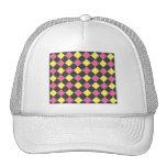 Motif à motifs de losanges jaune rose sur le noir casquette