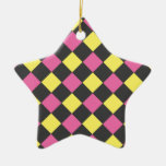 Motif à motifs de losanges jaune rose sur le noir ornements