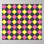 Motif à motifs de losanges jaune rose sur le noir posters