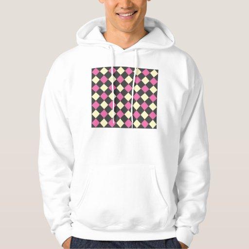 Motif à motifs de losanges jaune rose sur le noir sweatshirts avec capuche