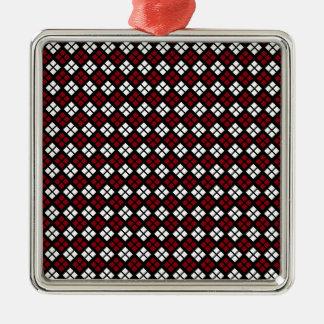 Motif à motifs de losanges rouge et blanc élégant ornement carré argenté