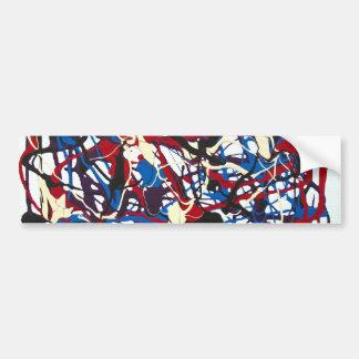 Motif abstrait bleu, rouge, noir, blanc. Moderne Autocollant Pour Voiture