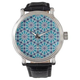 Motif abstrait dans bleu et gris montres bracelet
