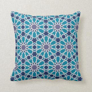 Motif abstrait dans bleu et gris oreiller