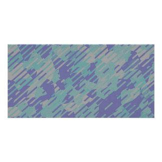 Motif abstrait dans pourpre, vert, et kaki cartes avec photo