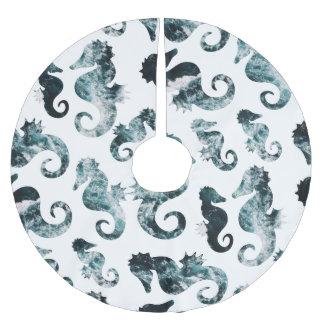 Motif abstrait d'hippocampes d'aqua jupon de sapin en polyester brossé