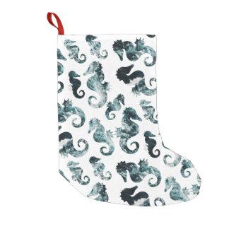 Motif abstrait d'hippocampes d'aqua petite chaussette de noël