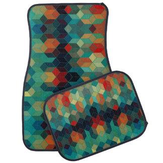 Motif abstrait géométrique moderne coloré de cubes tapis de voiture