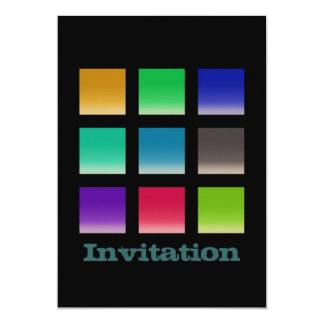 Motif abstrait moderne de carrés carton d'invitation  12,7 cm x 17,78 cm