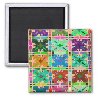 Motif abstrait multi d'art de couleur magnet carré
