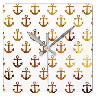 Motif ambre d'ancres de texture horloge carrée