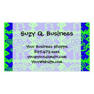 Motif animal bleu de vert de chaux de singe mignon cartes de visite personnelles