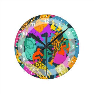 Motif animal de silhouettes horloge ronde