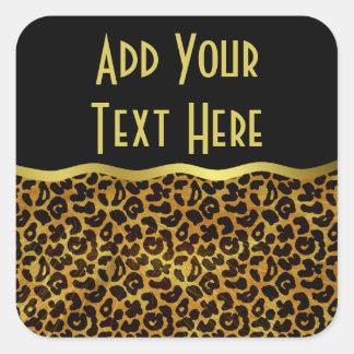 Motif animal d'impression de fourrure de léopard sticker carré