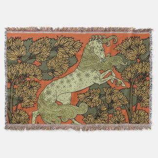 Motif antique de cheval couvre pied de lit