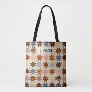 Motif antique de patchwork d'étoile de l'édredon | tote bag