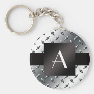 Motif argenté de plaque d acier de diamant de mono porte-clef