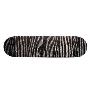 Motif argenté de rayure de zèbre scintillement de plateau de skate