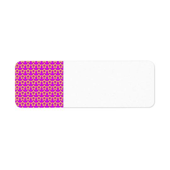 Motif : Arrière - plan rose avec les étoiles jaune Étiquette D'adresse Retour