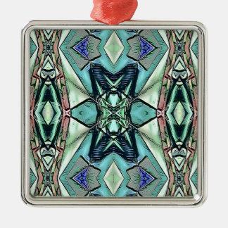 Motif artistique de pêche lilas turquoise moderne ornement carré argenté