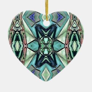 Motif artistique de pêche lilas turquoise moderne ornement cœur en céramique