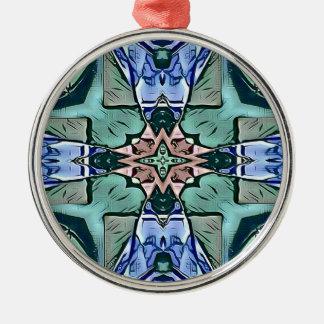 Motif artistique de pêche lilas turquoise moderne ornement rond argenté