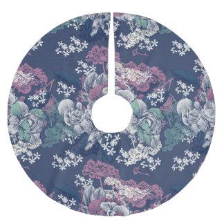 Motif artsy de croquis floral pourpre bleu jupon de sapin en polyester brossé